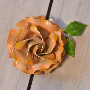 vintage peach enamel rose flower brooch pin
